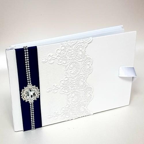 """Сватбена книга за пожелания """"Кралско синьо и кристали"""""""