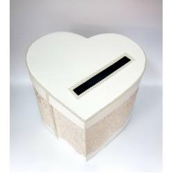 """Сватбена кутия за пари """" Сърце,нежна дантела в цвят Блъш """""""