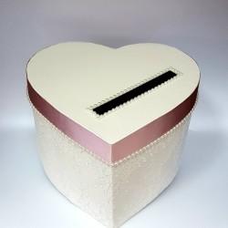 """Сватбена кутия за пари """" Сърце, перли и цвят Пудра"""""""