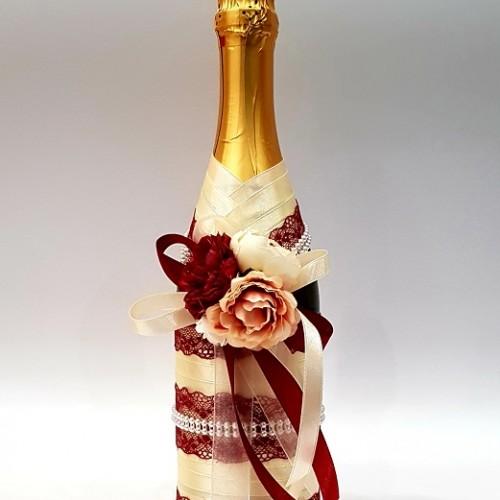 """Сватбен букет """" Шампанско и бордо"""""""