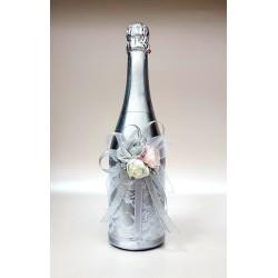 """Ритуално шампанско """"Сребро и цветове роза"""""""