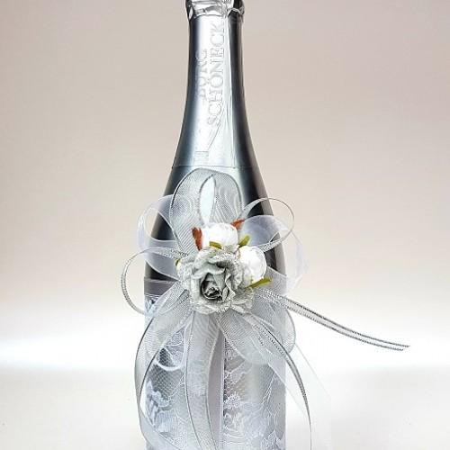 """Ритуално шампанско """"Дантела и букет в сребро"""""""