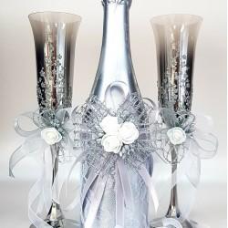 """Комплект """"Сребро и бели рози"""""""