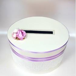 """Сватбена кутия за пари """" Екрю и нежно лилаво"""""""