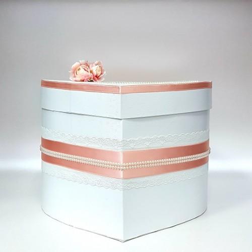 """Сватбена кутия за пари """" Сърце в цвят Праскова"""""""