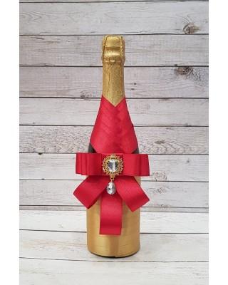 """Сватбено шампанско """"Светло злато и червено """""""